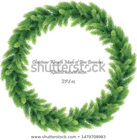 green christmas wreath with decorations eps 10 stock photo © beholdereye