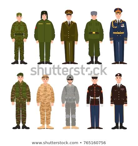 Foto stock: Militar · homem · uniforme · capacete · deserto