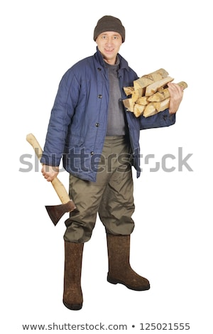 Stock photo: Man with axe isolated on white