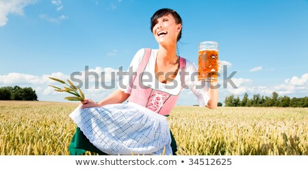 Stock photo: Bavarian girl with tray on white