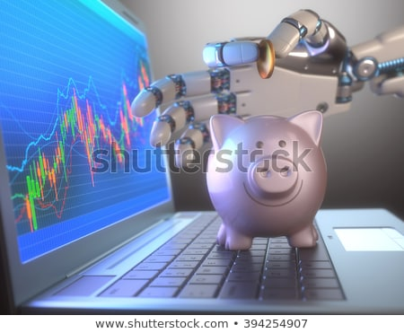 Roboter Handel Sparschwein Bild Software benutzt Stock foto © idesign