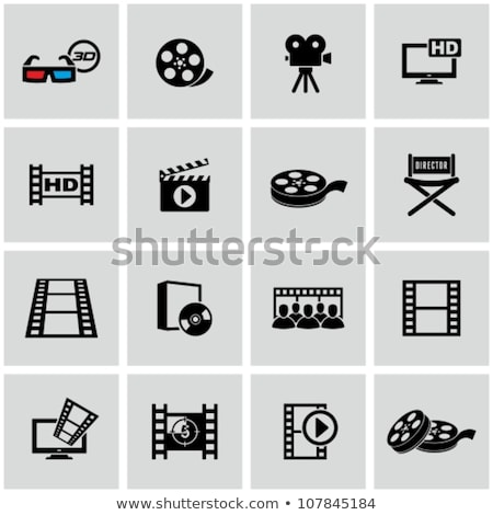 movie black icons set stock photo © genestro