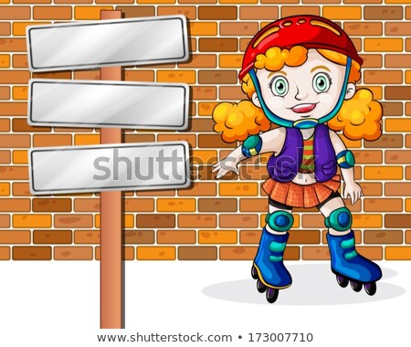 A girl rollerskating beside the empty signages Stock photo © bluering