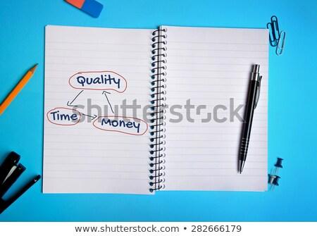 Tiempo calidad dinero bloc de notas lápiz rojo Foto stock © fuzzbones0