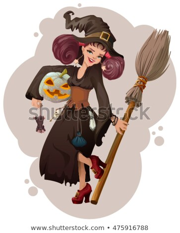 halloween masquerade beautiful young woman witch holding mouse stock photo © orensila