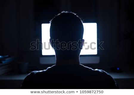 Internet függőség üzletember ül laptop gyökerek Stock fotó © alphaspirit