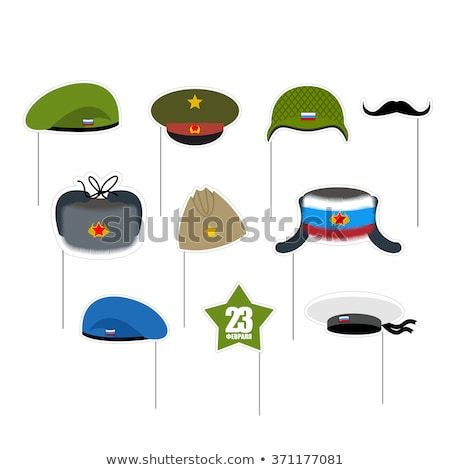 Beret military blue. Soldiers cap. army hat. War barret Stock photo © popaukropa
