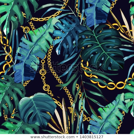 Nyaklánc arany levelek arany lánc zöld Stock fotó © blackmoon979