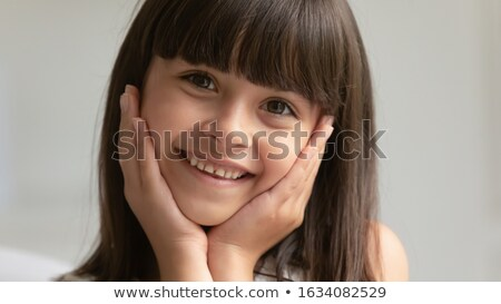 little cute brunette girl posing emotional playing at home with stock photo © iordani