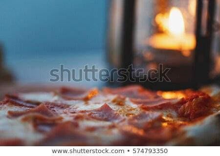 ham with oregano on a wooden dinerplate. Stock photo © janssenkruseproducti