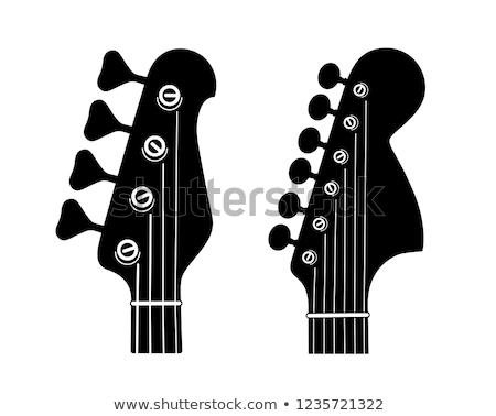 Bas gitar siyah beyaz fotoğraf müzik siyah Stok fotoğraf © sumners