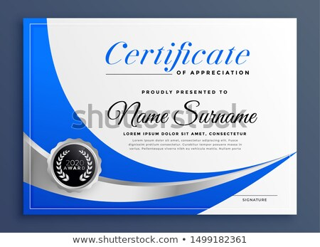 stylish certificate of appreciation with wavy blue shape Stock photo © SArts