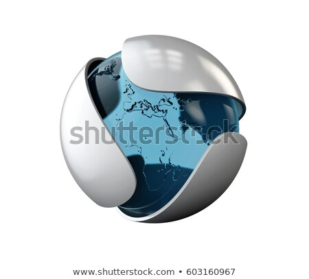 Abstract gray leaf with glass sphere logo. isolated on white, 3d Illustration Stock photo © tussik