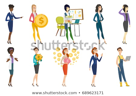 Young caucasian stewardess waving her hand. Stock photo © RAStudio