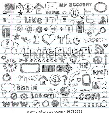 Doodle laptop casa icona bianco nero simbolo Foto d'archivio © pakete