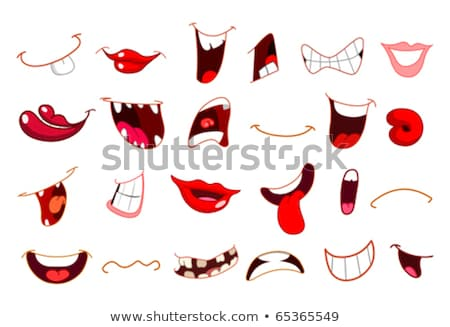 sad female mouth with red lips stock photo © noedelhap