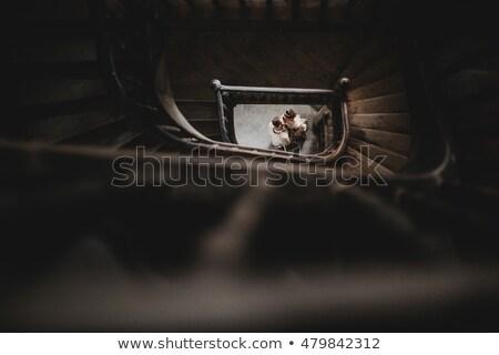 Famille permanent escalier en colimaçon Rock mur jouir de Photo stock © tekso