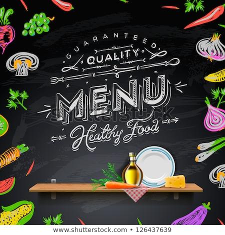 Stock photo: Restaurant Food Menu set Vintage Design with Chalkboard