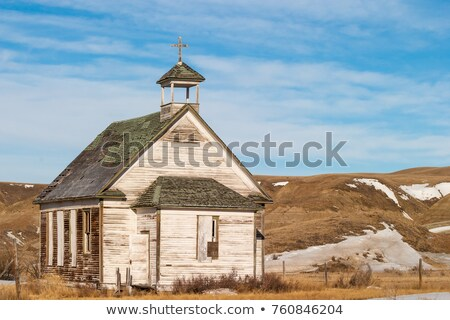 Foto stock: Old Abandoned Wooden Country Church At Dorothy Alberta