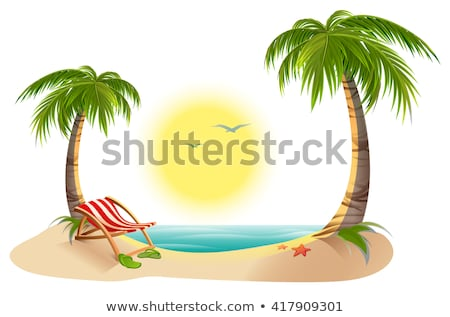 Summer rest. Chaise lounge under palm tree on tropical island Stock photo © orensila