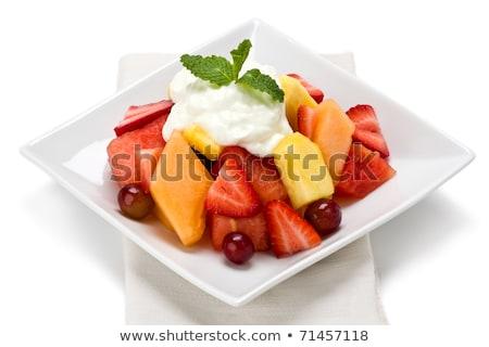 Salade de fruits blanche yogourt bol fruits frais salade Photo stock © Digifoodstock