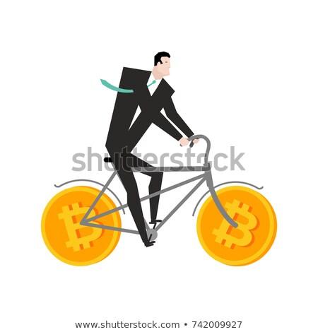 empresário · bitcoin · bicicleta · mineração · vetor · homem - foto stock © maryvalery