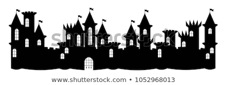 Silhouette Halloween linear Illustration Urlaub Form Stock foto © Olena