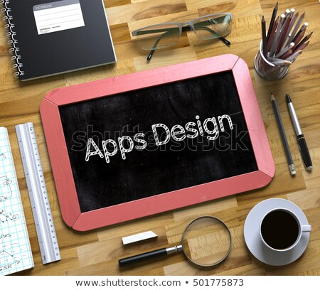 Stockfoto: Small Chalkboard With Apps Design 3d