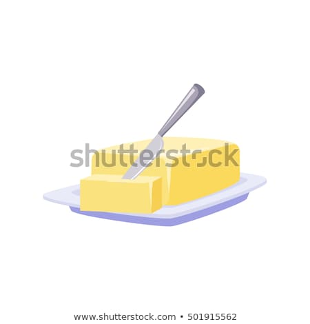 Brick Of Butter On Plate, Milk Based Product Isolated vector Icon Stock photo © MarySan