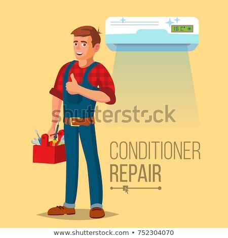 Professionnels climatiseur réparation vecteur homme électricien Photo stock © pikepicture
