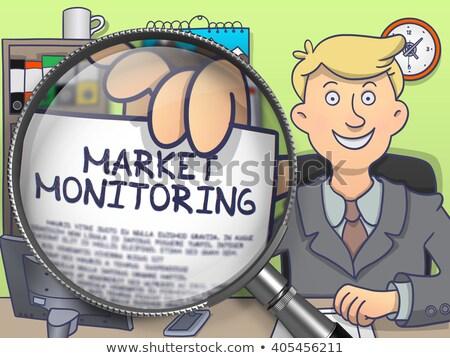 市場 モニタリング レンズ いたずら書き 笑みを浮かべて ビジネスマン ストックフォト © tashatuvango