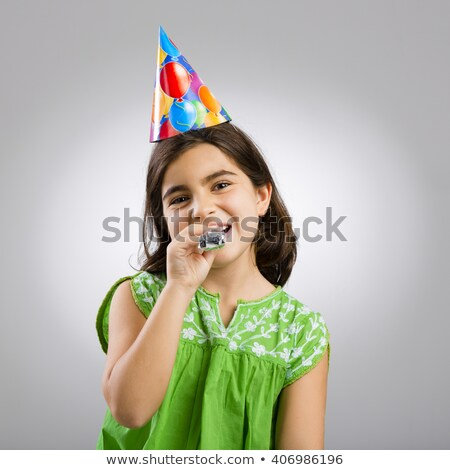 счастливым · мало · Kid · вечеринка · Роге - Сток-фото © deandrobot