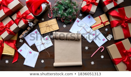 Stock photo: Party time at the workplace with Christmas decorations on deskto