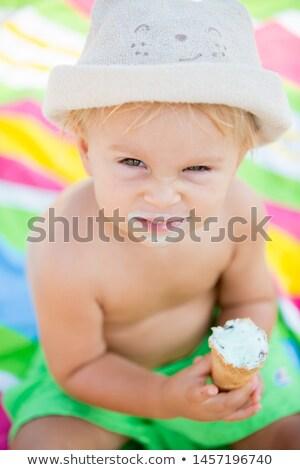 Portré testvérek tengerpart gyermek nyár bikini Stock fotó © IS2