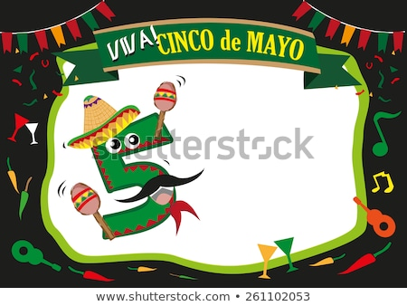 cinco de mayo card template with chili wearing hat stock photo © bluering