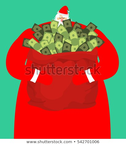 Rich santa and red bag with money. Claus sack of cash. Expensive Stock photo © popaukropa