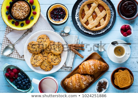 top view of a wood table full breakfast classic sweet foods stock photo © davidarts