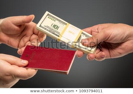 рук паспорта банкнота два доллара Сток-фото © AndreyPopov