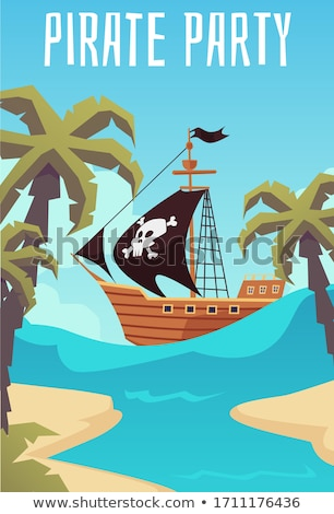 Pirate and kids with treasure chest on island Stock photo © bluering