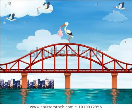 Baby gru ponte illustrazione cielo città Foto d'archivio © bluering
