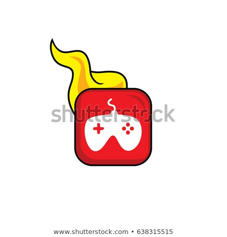joystick hot flame icon button theme vector art Stock photo © vector1st