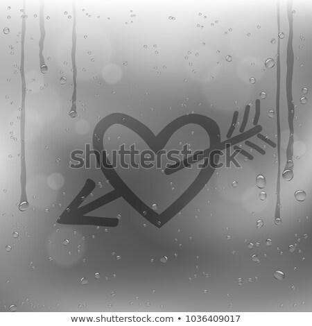 Pijl hart trekken regenachtig venster verdriet Stockfoto © romvo