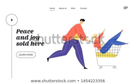 Alışveriş süpermarket afiş perakende kasiyer Stok fotoğraf © studioworkstock