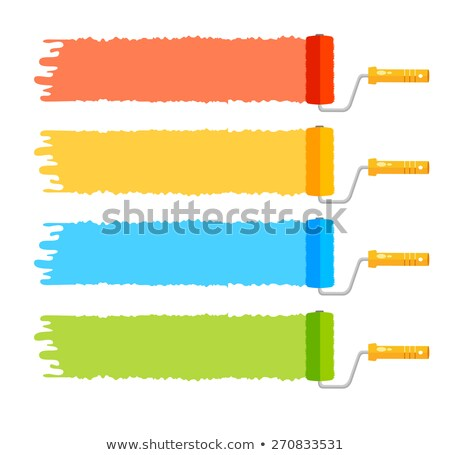 4 color stripes and paint roller - symbol for painter Stock photo © djdarkflower