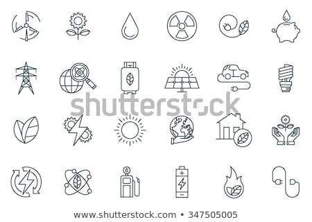 Stock photo: Solar power vector line icon.