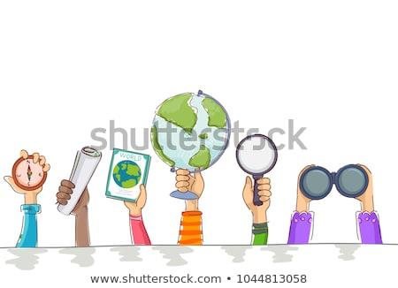 Kinderen aardrijkskunde wereldbol verrekijker kaart illustratie Stockfoto © lenm