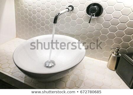 salle · de · bain · évier · acier · inoxydable · céramique · intérieur · savon - photo stock © get4net