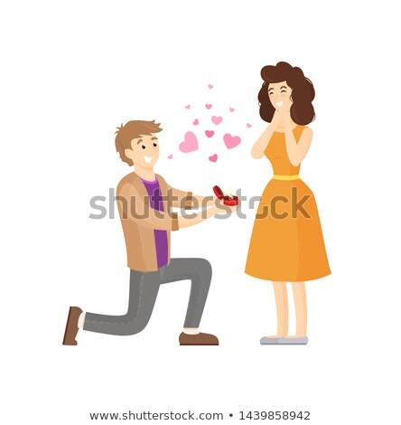 javaslat · fiatalember · szeretet · barátnő · mosolyog · öröm - stock fotó © robuart