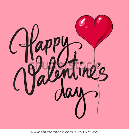 happy valentines day design with red balloon heart and typography letter on pink background vector stock photo © articular