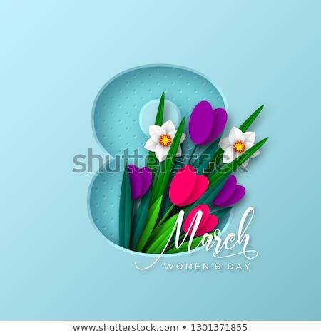 Feliz día de la mujer ilustración tulipán ramo tipografía Foto stock © articular